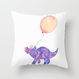 Tie-dye Triceratops Throw Pillow