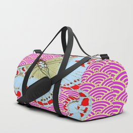 ORIGINAL ORIENTAL STYLE RED-WHITE EXOTIC BUTTERFLY PINK ART Duffle Bag