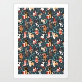 Holiday Dogs Art Print