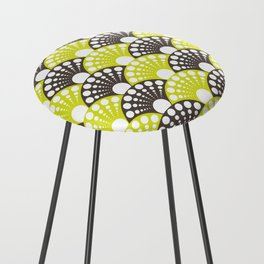 brown and lime art deco inspired fan pattern Counter Stool