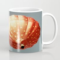 baloon Mugs featuring Strawberry hot air baloon by Wood-n-Images