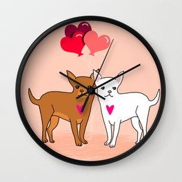 Chihuahua valentine love children small dog breeds cute puppy valentines day gift for dog person  Wall Clock