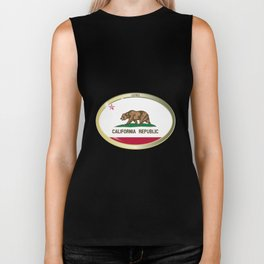 California State Flag Oval Button Biker Tank