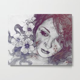Cleopatra's Sling: Red & Blue | flower tattoo lady portrait drawing Metal Print