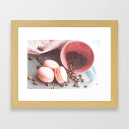 Sweet cakes with coffeebeans in a cup Framed Art Print