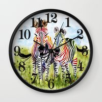 zebra Wall Clocks featuring Zebra by Anna Shell