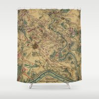 battlefield Shower Curtains featuring Vintage Antietam Battlefield Map (1862) by BravuraMedia