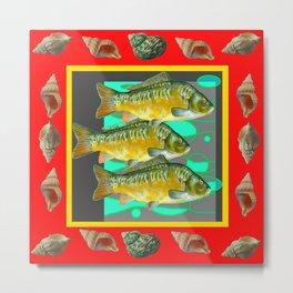 SEA SHELLS YELLOW-RED FISH AQUATIC ART VIGNETTE Metal Print