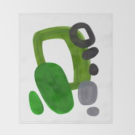 Mid Century Vintage 70's Design Abstract Minimalist Colorful Pop Art Olive Green Dark Green Grey Throw Blanket