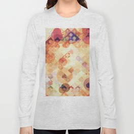 geometric square pixel and circle pattern abstract in orange brown Long Sleeve T-shirt