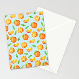 Watercolor Oranges Pattern 3 Stationery Cards