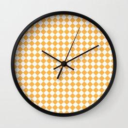 Small Diamonds - White and Pastel Orange Wall Clock