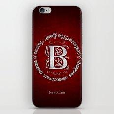 Joshua 24:15 - (Silver on Red) Monogram B iPhone & iPod Skin