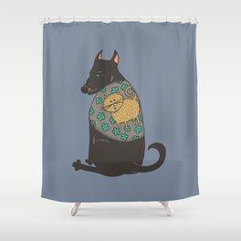 Black Dog in a Kitten Coat Shower Curtain