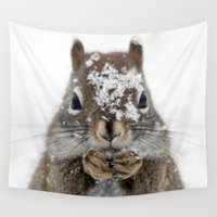 squirrel Wall Tapestries featuring Squirrel! by Oberleigh Images