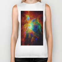 nebula Biker Tanks featuring Orion NEBula  : Colorful Galaxy by 2sweet4words Designs