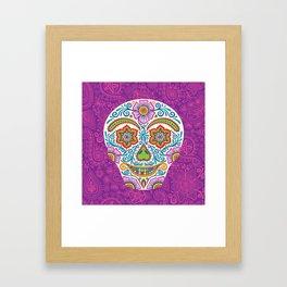 Flower Power Skully Framed Art Print
