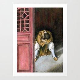 praying chinese monk Art Print