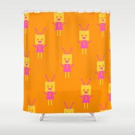 Happiest Little Robot (orange) Shower Curtain