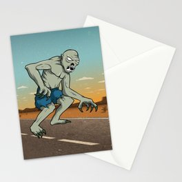 Vintage Ghoul Crossing The Road, Hand Drawn Halloween Poster Stationery Cards