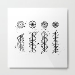 DNA Helix A-B-C-Z Art Medical Art Black and White Gift Genetics Doctor Gift Metal Print