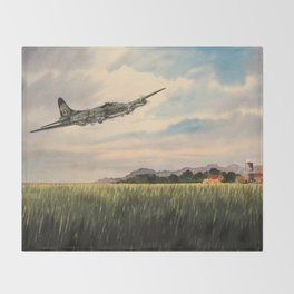 B-17 Flying Fortress Aircraft Throw Blanket