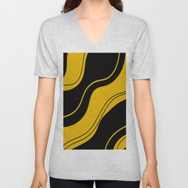 Uplifting abstract yellow black wavy lines Unisex V-Neck
