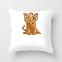 Cat Pumpkin, It's Show Time Funny Halloween Horror Scary Throw Pillow