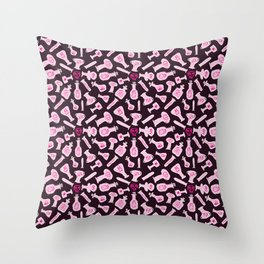 Pink bottle alchemy Throw Pillow