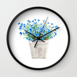 blue forget me not in a basket watwercolor Wall Clock