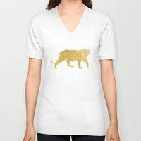 gold foil V-neck T-shirts featuring Gold Foil Tiger by Mod Pop Deco