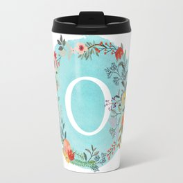 Personalized Monogram Initial Letter O Blue Watercolor Flower Wreath Artwork Travel Mug