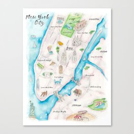 New York City Watercolor Map Canvas Print
