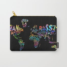 world map watercolor typography 3 Carry-All Pouch