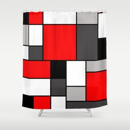 Red Black and Grey squares Shower Curtain