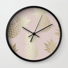 Hawaii Prints, Cute Pineapple, Pink and Gold, Abstract Art Wall Clock