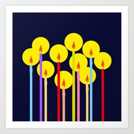 Festive Colorful Lighted Candles Art Print