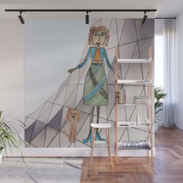 Girl with dog | Painting by Elisavet Wall Mural