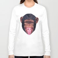 low poly Long Sleeve T-shirts featuring Chimpanzee low poly by Angel Decuir