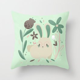 Tiny Bunny with Florals || Soft Pink and Mint Palette Throw Pillow