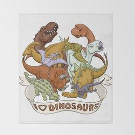 I Heart Dinosaurs Throw Blanket