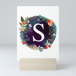 Personalized Monogram Initial Letter S Floral Wreath Artwork Mini Art Print
