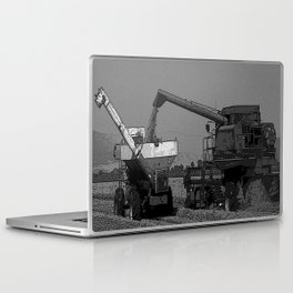 Black & White Rice Harvest Pencil Drawing Photo Laptop & iPad Skin