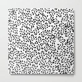 Simple modern hand painted watercolor black brushstrokes Metal Print