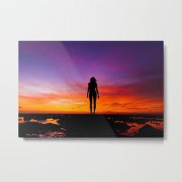 SUNRISE - SUNSET - WOMAN - BLACK - PHOTOGRAPHY Metal Print