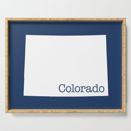 Colorado State shape in Navy blue Serving Tray
