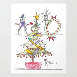 Festive Christmas Scene Art Print