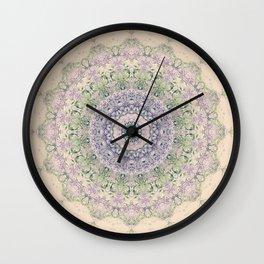 32 Wisteria Pine Loop -- Vintage Cream and Lavender Purple Mandala  Wall Clock