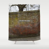 college Shower Curtains featuring College Walk Winchester, England by Ashley Callan