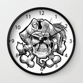 pirate skull in a bandana and a hat with feathers. Wall Clock
